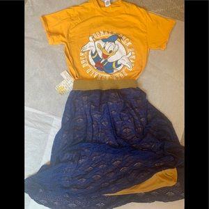 XXS Lularoe mustard/blue skirt + Donald Duck T